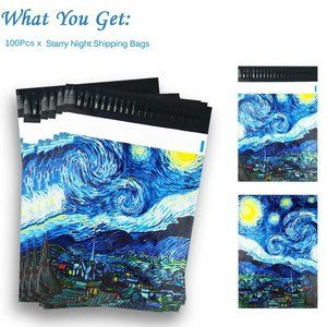 """100 Pack Poly Mailers, 10"""" X 13"""" Starry Skies"""